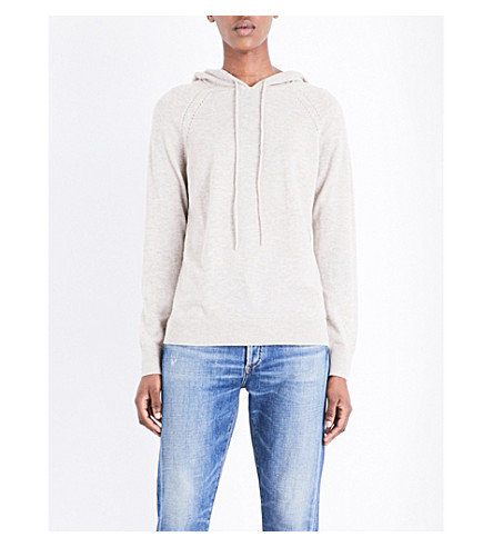 THE WHITE COMPANY Pointelle-detail wool and cashmere-blend hoody (Taupe+marl