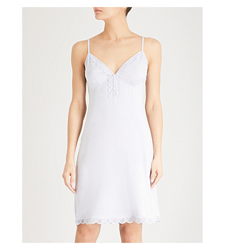 THE WHITE COMPANY Floral-lace jersey nightdress (Pale+blue