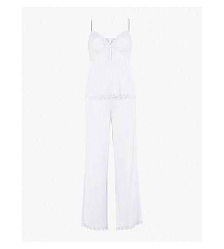 THE WHITE COMPANY Lace embroidered trim jersey pyjama set (Pale+blue