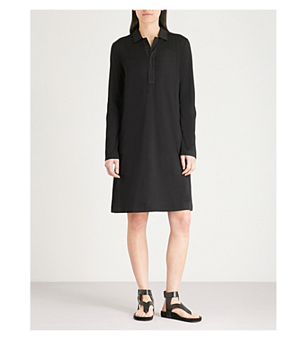 THE WHITE COMPANY Contrasting-collar jersey dress (Black