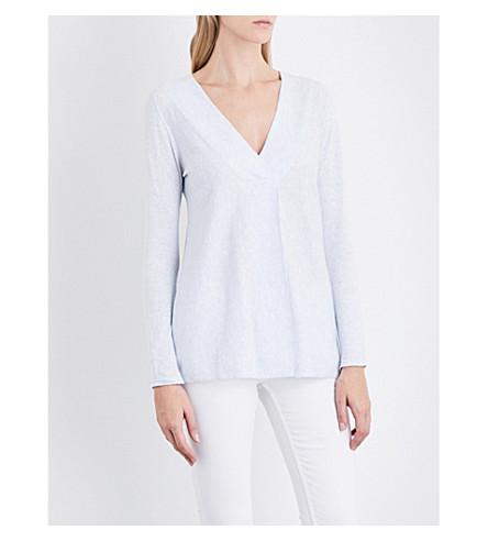 THE WHITE COMPANY V-neck jumper (Pale+blue+marl