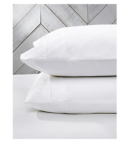 THE WHITE COMPANY Adeline housewife cotton pillowcase (White