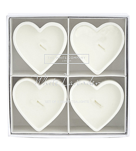 THE WHITE COMPANY Lavender heart tealights s/4 (No+colour