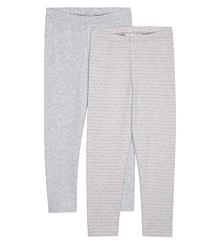 THE LITTLE WHITE COMPANY Pink and grey cotton legging two pack 1-6 years (Multi