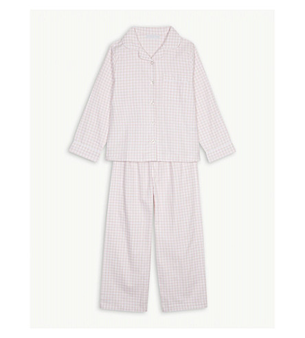 THE LITTLE WHITE COMPANY Gingham flannel pyjamas 1-6 years (Pink