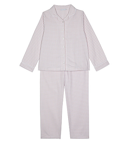 THE LITTLE WHITE COMPANY Gingham check pyjamas 7-12 years (Pink