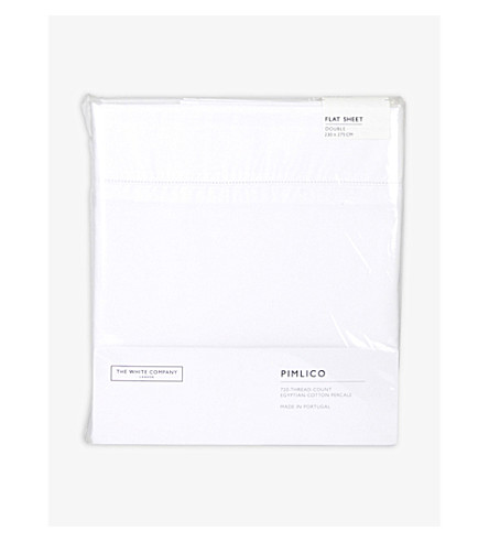 THE WHITE COMPANY Pimlico flat double sheet (White