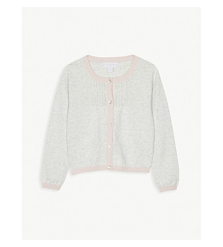 THE LITTLE WHITE COMPANY Pin-tuck knitted cotton cardigan 1-6 years (Multi