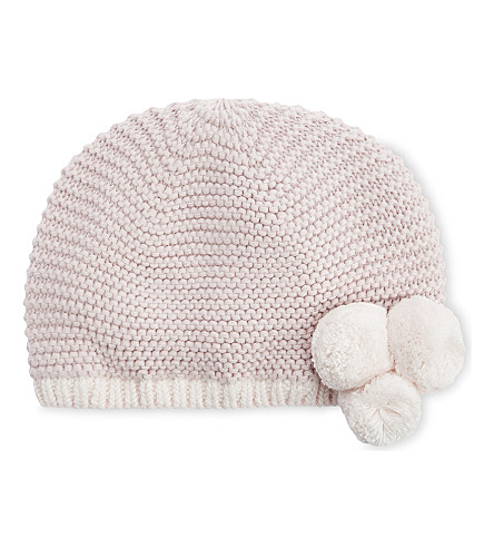 THE LITTLE WHITE COMPANY Pompom knitted hat (Dusty+rose
