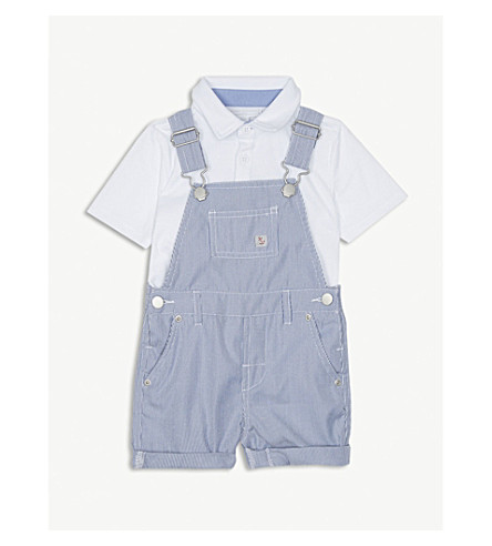 THE LITTLE WHITE COMPANY Pique dungaree & polo shirt set 0-24 months (Dark+navy