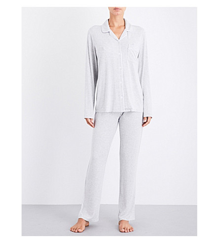 THE WHITE COMPANY Contrast-piping jersey pyjama set (Silvergreymarl