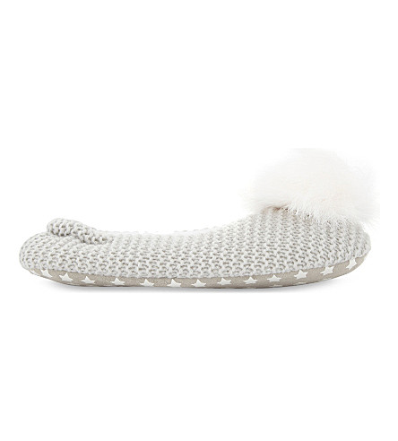 THE LITTLE WHITE COMPANY Pompom knitted ballerina slippers (Silvergreymarl
