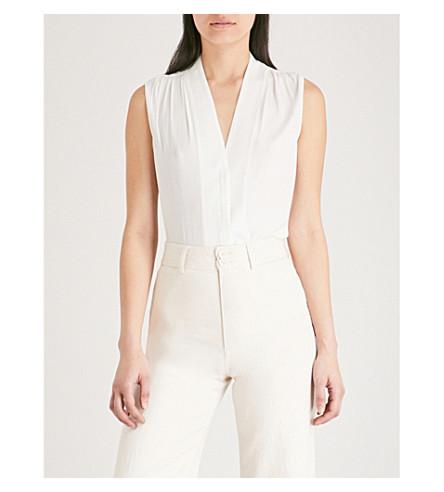 THE WHITE COMPANY V-neck satin blouse (Ivory