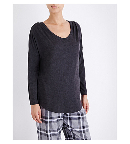 THE WHITE COMPANY Pleated-shoulder jersey pyjama top (Darkcharcmarl