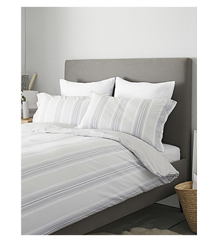 THE WHITE COMPANY Pemberton cotton duvet cover king (White/blue