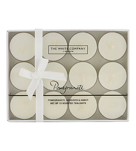 THE WHITE COMPANY Pomegranate scented tealights set of 12 (No+colour