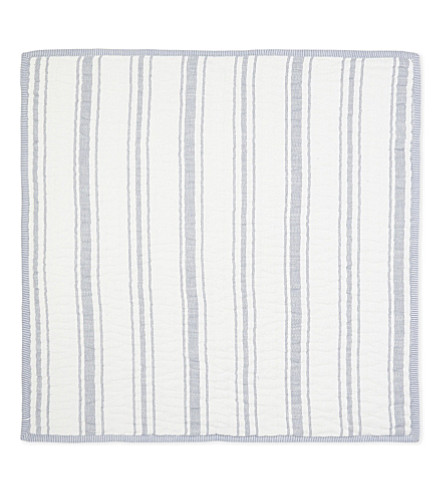 THE WHITE COMPANY Portreath large square cotton cushion cover (White/blue