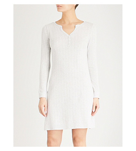 THE WHITE COMPANY Pointelle knitted nightdress (Pale+grey+marl