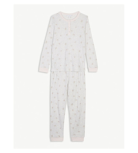 THE LITTLE WHITE COMPANY Pointelle heart cotton pyjamas 7-12 years (Multi