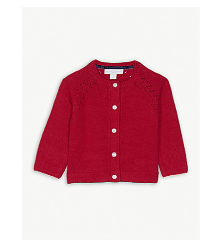 THE LITTLE WHITE COMPANY Knitted cotton-blend cardigan 0-24 months (Post+box+red