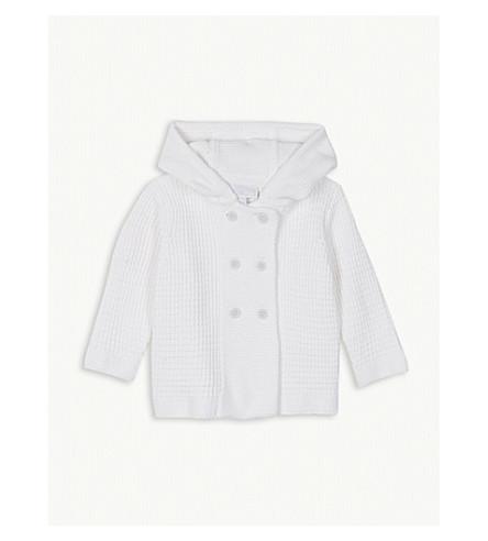 THE LITTLE WHITE COMPANY Pom-pom waffle knit cotton jacket 0-24 months (White