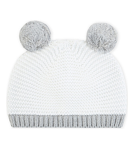 THE LITTLE WHITE COMPANY Bear ears knitted cotton beanie hat 12-24 months (White