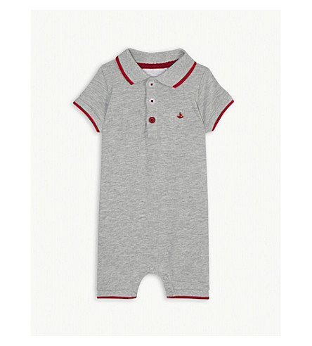 THE LITTLE WHITE COMPANY Anchor polo cotton-blend shortall 0-24 months (Grey+marl
