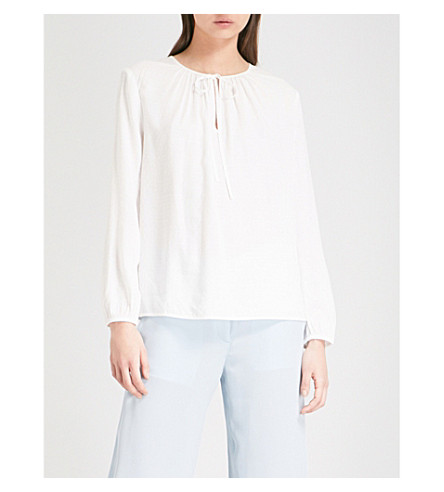 THE WHITE COMPANY Tie-neck woven peasant blouse (Ivory