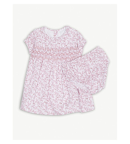 THE LITTLE WHITE COMPANY Floral print cotton smock dress 0-24 months (Pink