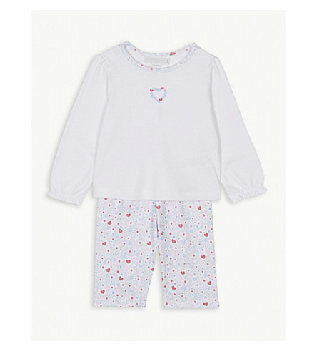 THE LITTLE WHITE COMPANY Star and heart print cotton pyjamas 0-24 months (Multi