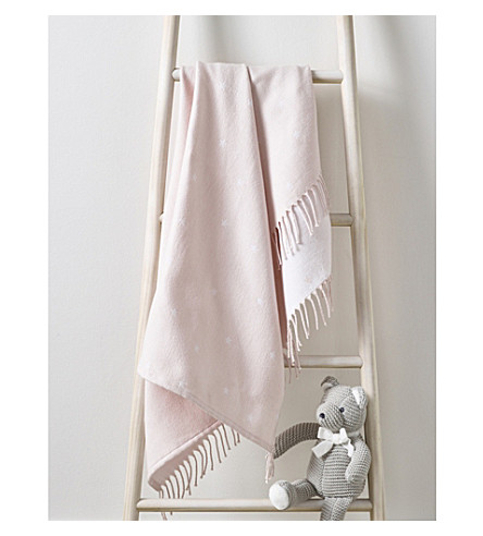 THE LITTLE WHITE COMPANY Star print fringe cotton baby blanket (Pink