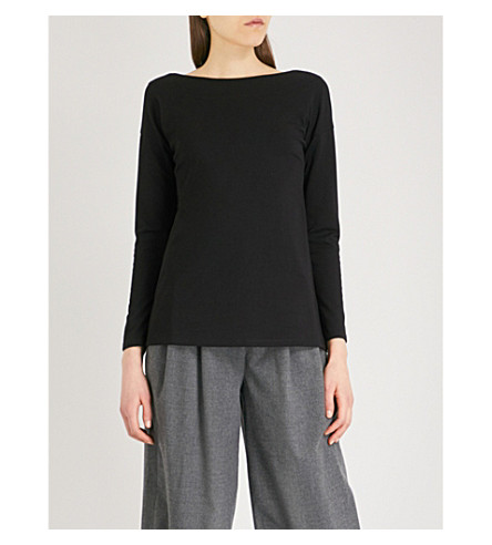 THE WHITE COMPANY Tie-back jersey top (Black