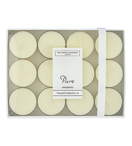 THE WHITE COMPANY Pure unscented tealights set of 12 (No+colour