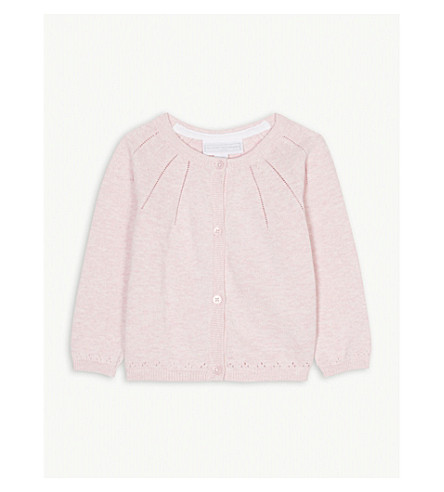 THE LITTLE WHITE COMPANY Pointelle knitted cotton cardigan 0-24 months (Pink