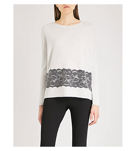 THE WHITE COMPANY Lace-hem wool jumper (Cloud+marl
