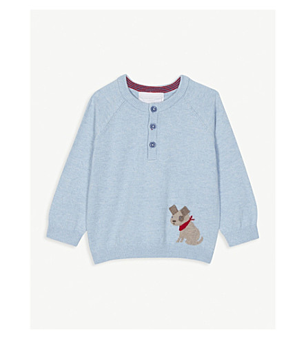 THE LITTLE WHITE COMPANY Dog embroidered cotton-blend jumper 0-24 months (Cashmere+blue