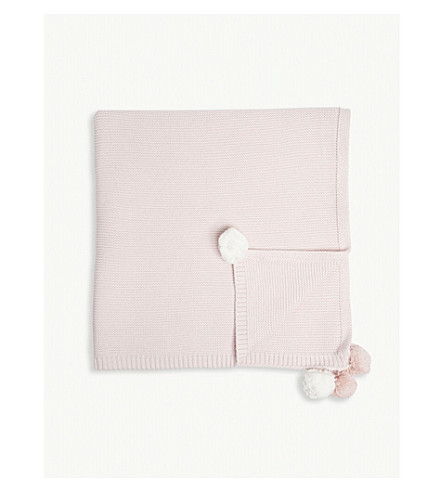 THE LITTLE WHITE COMPANY Pom pom knitted cotton blanket (Pink