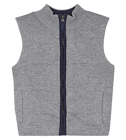 THE LITTLE WHITE COMPANY Quilted knitted gilet 1-6 years (Grey
