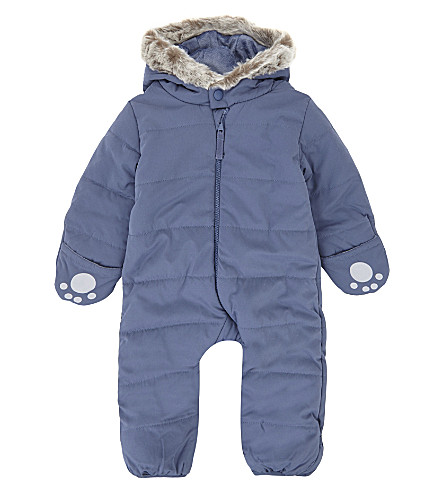 THE LITTLE WHITE COMPANY Quilted pram suit 0-24 months (Navy
