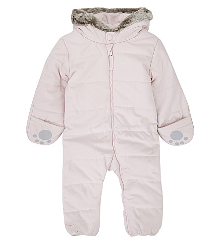 THE LITTLE WHITE COMPANY Cotton-blend hooded baby-grow 0-24 months (Pink