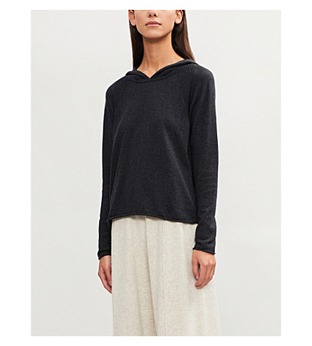 THE WHITE COMPANY Slouchy-fit cotton and cashmere-blend hoody (Darkcharcmarl