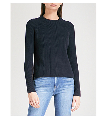 THE WHITE COMPANY Ribbed-knit cotton jumper (Navy