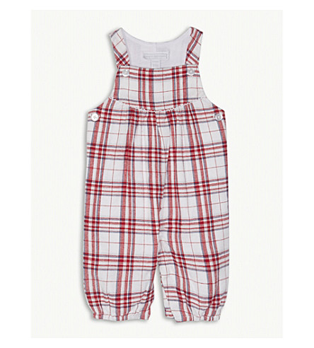 THE LITTLE WHITE COMPANY Check print cotton dungarees 0-24 months (Multi
