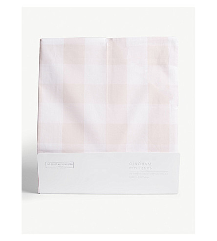 THE LITTLE WHITE COMPANY Gingham check single duvet cover and pillow set (Chalk+pink