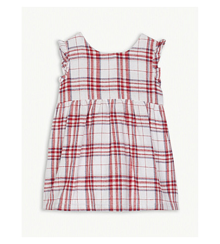 THE LITTLE WHITE COMPANY Check print cotton sleeveless dress 0-24 months (Multi