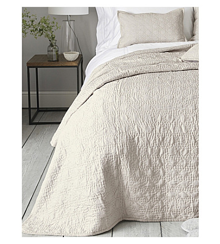 THE WHITE COMPANY Richmond silk and cotton double quilt 250 x 215cm (Mink