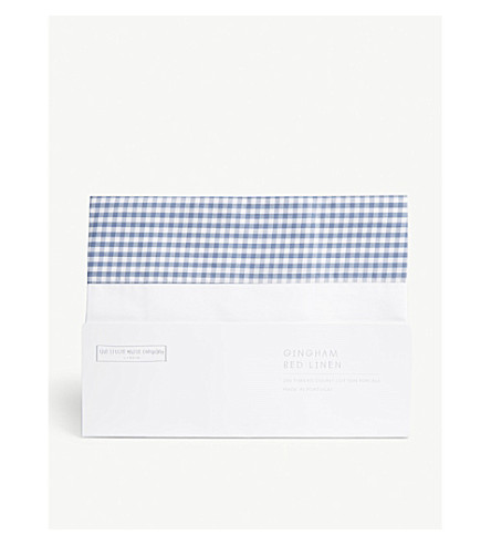 THE LITTLE WHITE COMPANY Gingham check cotton Oxford pillowcase (Moonlight+blue