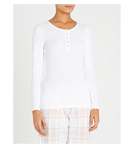 THE WHITE COMPANY Henley cotton-blend pyjama top (White