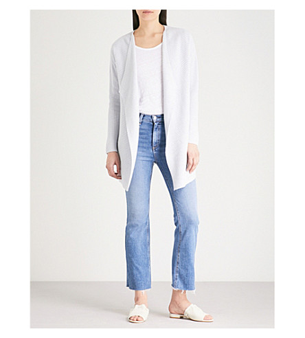 THE WHITE COMPANY Ribbed waterfall long cardigan (Pale+blue