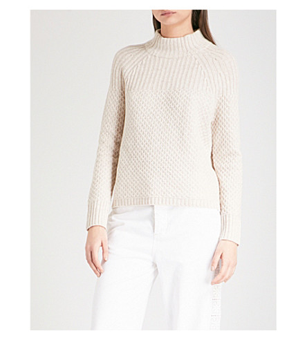 THE WHITE COMPANY Contrast-knit cotton-blend jumper (Taupe+marl